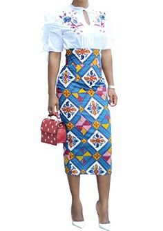 1e02ece0482  11.99 - Runcati Womens African Print Floral Midi Knee Length Skirts Slim  Fit Bodycon High Waist