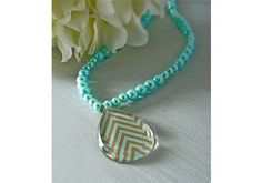 30-min Mother's Day Craft: Pearl and Chevron Pendant Necklace with Mod Podge Facet Shapes and scrapbook paper.