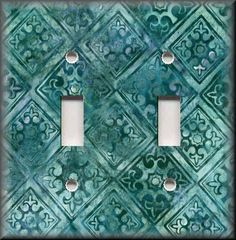 Switch Plates And Outlet Covers - Batik Tile Pattern Teal Kitchen Home Decor