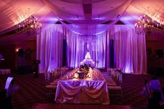 Drapes, chandeliers and mood lighting (Tara & Donnell's Wedding)
