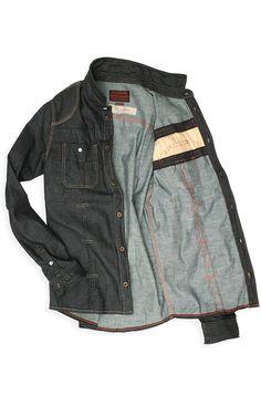02-Denim Work Shirt with metal piping, Williamsburg Garment Company - Men's / Women's Raw Denim Jeans and Designer Clothing, Brooklyn, New York USA