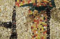El Anatsui  african outsider artist  recycled paper, cans, bottle tops