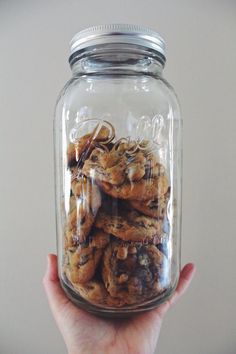 give: cookies in a glass ball jar.
