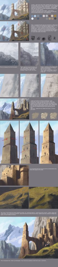A GREAT starting point of a tutorial for Architecture/Landscaping by Meisl on Deviant Art http://browse.deviantart.com/art/landscape-tutorial-308751615  *NOTE, not my art- simply linking so other aspiring artists may use the tutorial for learning. I own no rights. You can use the included link to go to the original page.