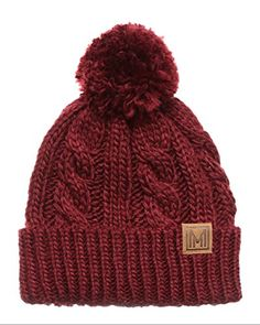 de90a94f150 MIRMARU Winter Oversized Cable Knitted Pom Pom Beanie Hat with Fleece Lining