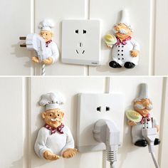 Cute Cartoon Creative Power Cord Storage Rack Plug Hook Powerful Sticking Holders