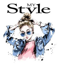 Illustration about Fashion woman in jeans jacket. Stylish beautiful young woman in sunglasses. Illustration of person, girl, drawing - 110579159 Cartoon Girl Drawing, Girl Cartoon, Cartoon Art, Girl Background, Digital Art Girl, Illustration Girl, Anime Art Girl, Cute Art, Ideias Fashion