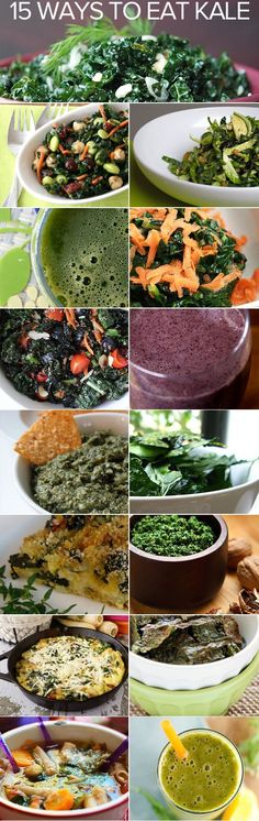 So many ways to eat more kale. Recipes for   soup, salad, sautees, and smoothies!