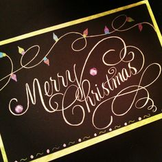 custom calligraphy christmas card Christmas Art, Winter Christmas, Handmade Christmas, Christmas Lights, Christmas Ideas, Wedding Calligraphy, Calligraphy Christmas, Computer Font, Fancy Fonts