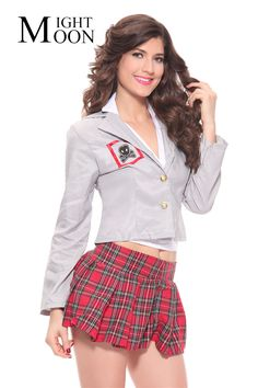 Cheap sexy school girl costume, Buy Quality sexy costumes school girl directly from China school girl sexy Suppliers: MOONIGHT Long Sleeve Women Sexy School Uniform Exotic Apparel Sexy School Girls Costumes Student Uniform Temptation Naughty School Girl Costume, England Mode, England Fashion, School Uniform, Costume Accessories, School Outfits, Short Dresses, Sexy Women, Costumes