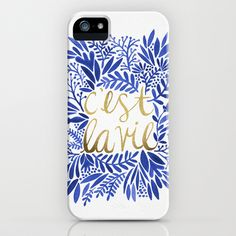 That's Life – Gold & Blue iPhone & iPod Case by Cat Coquillette - $35.00