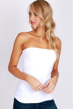 Seamless Tube Top White A staple basic piece with built in bandeau bra and elasticized ribbed trim, perfect for layering.