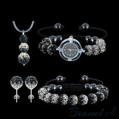 Shamballa Uhr- Schmuckset in schwarz - http://bramel.ch/accessoires-shop/armband/shamballa-uhr-schmuckset-in-schwarz/ http://bramel.ch/wp-content/uploads/2014/04/Shamballa-Uhr-Schmuckset-in-schwarz.jpg