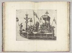 Anonymous | Praalwagen van het Verbond met de stedenmaagd van Antwerpen, 1582, Anonymous, 1582 | Praalwagen van het Verbond (Foedus) met de stedenmaagd van Antwerpen en andere deugden en allegorische figuren. Plaat IIII in de beschrijving van de intocht van de hertog van Anjou te Antwerpen, 19 februari 1582.