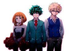 Boku no Hero Academia || Uraraka Ochako, Midoriya Izuku, Katsuki Bakugou.