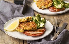 Corn fritters with hand‑cut ham and avocado