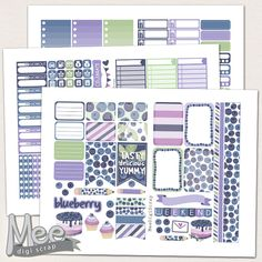 Blueberry printable planner stickers for use with Happy planner,printable weekly kit,June planner sticker,HP planner set,planner,cut file by MeeDigiScrap on Etsy