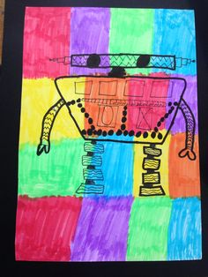 Robot drawing by 3th grader art education Andrea Budé