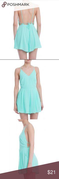 Lush light green Romper Low back with ties, darling. Lush Other