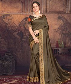 Chanderi Silk Party Wear Sarees Online, Stylish Sarees, Art Silk Sarees, Traditional Sarees, Indian Ethnic Wear, How To Dye Fabric, Long Blouse, Festival Wear, Saree Collection