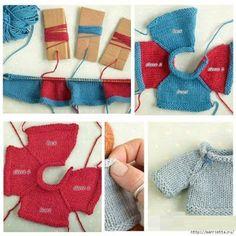 КЛУБ ВЯЗАНИЯ: Свитер с жаккардовым узором для куклы или мягкой игрушки
