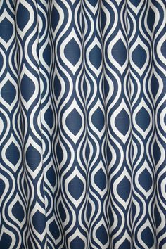 """Pair of designer drapes, two 50"""" wide curtain panels, Nicole aqua navy blue and white"""