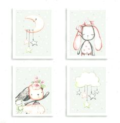 Cute Bunny - Moon - Cloud - Girl - Nursery Prints - Grey and Pink - Set 4 - Best Baby Girl Nursery ideas Baby Girl Nursery Pink And Grey, Baby Girl Nursey, Pink Prints, Moon Nursery, Cute Bunny, Nursery Prints, Nursery Ideas, Pink Grey, Clouds