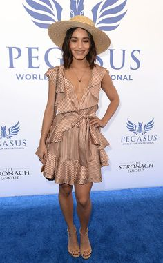 Vanessa Hudgens from The Big Picture  Fashionista! The actress strikes a pose on the blue carpet while attending the Pegasus World Cup in Hallandale.