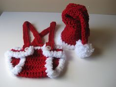 Crochet Baby Hat Santa with Diaper Cover Christmas by LocustTree