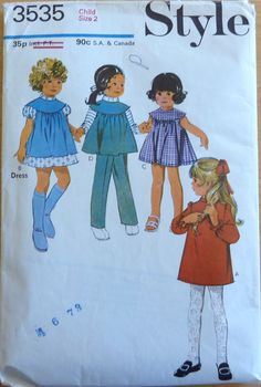 Vintage Sewing Pattern Style 3535 - Child's Dress, Smock in Two lengths and Trousers (1971) Size 2