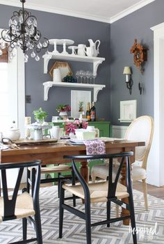 Gray Dining Room | Summer Home Tour 2016 via inspiredbycharm.com