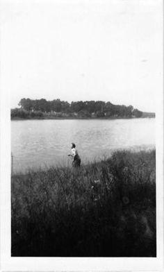Photograph Snapshot Vintage Black and White: Man River Bank Shore 1940's