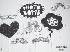 Hochzeitsdeko - PHOTOBOOTH Requisiten BLACK & WHITE schwarz... - ein Designerstück von gluecksschauer bei DaWanda