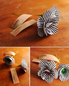 Personalized business cards - with handmade flower. What a great idea to make your card stand out.