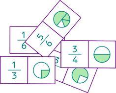 28 fichas de dominó de fracciones propias para imprimir. 4,8 x 2,4 cm.
