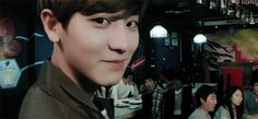 "Chanyeol's face after saying ""she's mine so keep your hands off"" (gif) ugghh so cuuute"