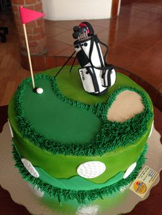 golf themed retirement cake with chocolate buttercream Google