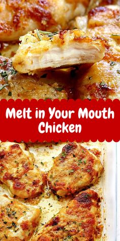 Melt in Your Mouth Chicken Grilled Chicken Recipes, Baked Chicken Recipes, Chicken Meals, Cooking Recipes, Healthy Recipes, Ww Recipes, Bread Recipes, Food Dishes, Tasty Dishes