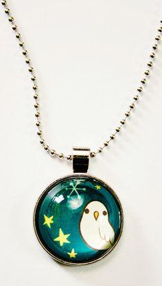 Calling all night owls! Dark Blue glass necklace by boygirlparty at http://shop.boygirlparty.com #glass #owl