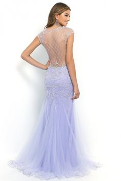 2015 Terrific Scoop Beaded And Fitted Bodice Mermaid/Trumpet Prom Dress Tulle