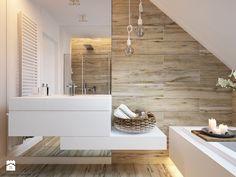 """W klimacie """"new nordic"""" - Duża łazienka na poddaszu, styl skandynawski - zdjęcie od ELEMENTY - Pracownia Architektury Wnętrz"""
