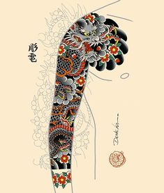 Traditional Japanese Tattoo Sleeve, Tattoo Japanese Style, Japanese Tattoos For Men, Japanese Dragon Tattoos, Japanese Tattoo Designs, Japanese Sleeve Tattoos, Dragon Koi Tattoo Design, Dragon Tattoo Colour, Full Hand Tattoo