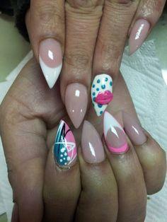 Stiletto nails, 3D lips, dots,pink& white!!!