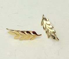 Perfect gift for sister. Lovely small earrings made of sterling silver (gold plated). In the shape of leaf – a unique product by Gemasymas via en.DaWanda.com
