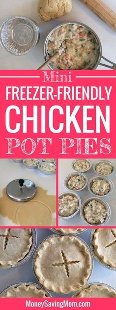 Easy Individual Chicken Pot Pies {Freezer-Friendly Looking for a great freezer-friendly one-dish dinner idea? After the popularity of my sister Easy Individual Mini Meat Lasagna recipe post, I asked her if she would create another freezer-fri Individual Freezer Meals, Individual Chicken Pot Pies, Make Ahead Freezer Meals, Freezer Cooking, Individual Pies, Cooking Tips, Freezer Recipes, Cooking School, Freezer Dinner