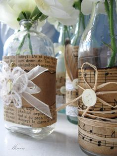 vases or bottles tied with pages and twine or ribbon Mason Jar Crafts, Bottle Crafts, Mason Jars, Bottles And Jars, Glass Jars, Photo Frame Decoration, Showers Of Blessing, Crafts To Make, Diy Crafts