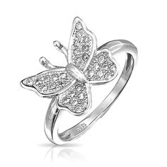 925 Sterling Silver Micropave Clear CZ Small Butterfly Ring