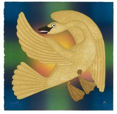 """Kenojuak Ashevak, Inuit artist, """"Golden Goose"""""""