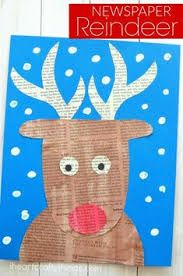 christmas art Repurpose newspaper into an awesome newspaper reindeer craft. Great Christmas kids craft, rudolph craft for kids and Christmas arts and crafts ideas. Christmas Arts And Crafts, Preschool Christmas, Christmas Activities, Kids Christmas, Holiday Crafts, Fun Crafts, Creative Crafts, Simple Crafts, Christmas Quotes