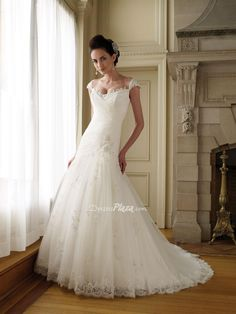 lace tulle cap sleeve fit flare drop ruched beaded applique wedding dress
